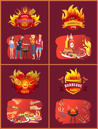 Party barbecue hot set of posters with people eating roasted food. Hamburgers and fried sausages, frankfurters on forks, brazier with meal vector