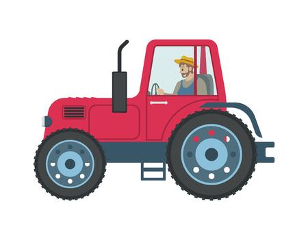 Homme de tracteur conduisant le vecteur d'icône isolé. Personne travaillant à la ferme utilisant un véhicule pour la culture et le transport de produits. Travaux agricoles saisonniers