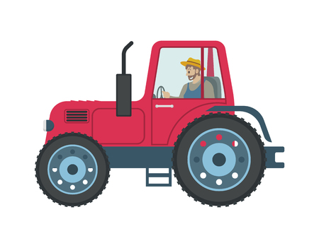 Tractor man driving isolated icon vector. Person working on farm using vehicle for cultivation and transportation of products. Farming seasonal works