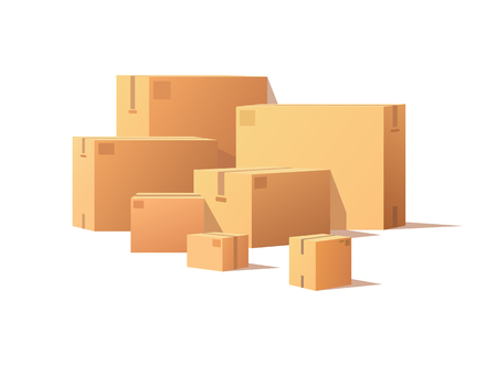 Realistic packages with adhesive tape isolated on white. Carton packs vector delivery icons. Pile of parcel boxes, stacked sealed goods in cardboard.