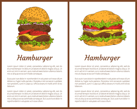Hamburger american cuisine meal posters set. Buns roasted and ham meat, tomatoes with salad leaves. Cheese and ripe tomatoes, vector illustration