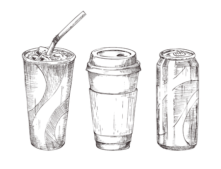 Disposable glass with ice liquid, cup with coffee or tea and metal soda can. Advertising take-away drink sketch icon set for snackbar promo or menu vector