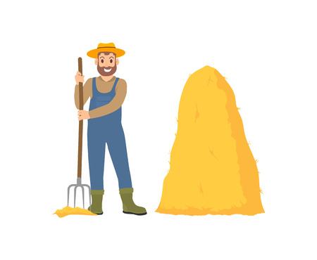 Farming person with hayfork and dry grass bale isolated icon vector. Farmer working on land with pitchfork instrument, autumnal seasonal occupation Çizim