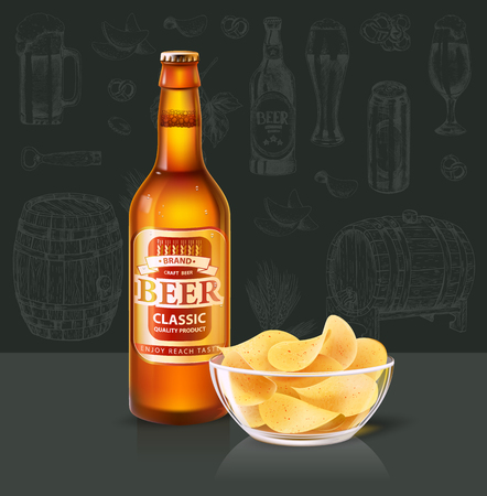 Craft beer in bottle and chips in glass bowl. Alcohol drink of hop, barley or yeast, potato fast food crispy snack realistic 3D vector illustration.