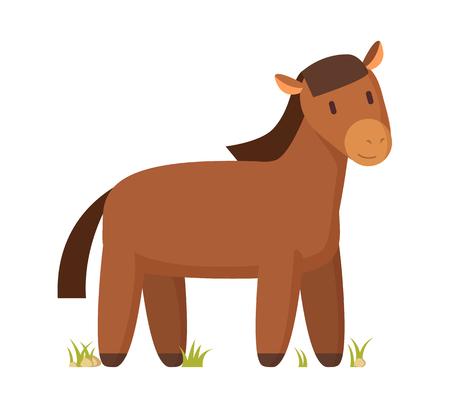 Illustration de vecteur de personnage de dessin animé heureux cheval brun isolé sur blanc pour livre ou magazine. Affiche informative colorée d'animaux de ferme domestique.