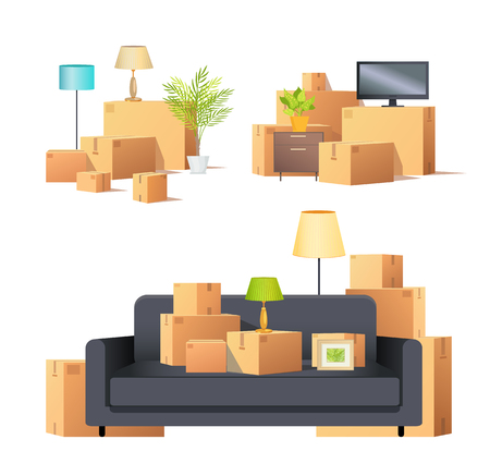Move in new apartment carton boxes isolated set vector. Furniture sofa with pictures and lamps, tv screen monitor containers with personal belonging
