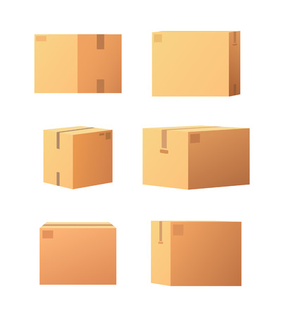 Carton packages with adhesive type set of isolated icons vector. Containers made of cardboard, packaging square objects for storage and items keeping