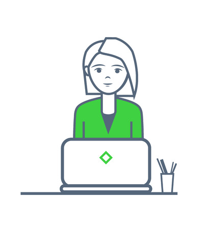 Woman working on laptop by table with pen and pencil isolated vector. Female looking at screen, job at office and duties of lady wearing formal suit