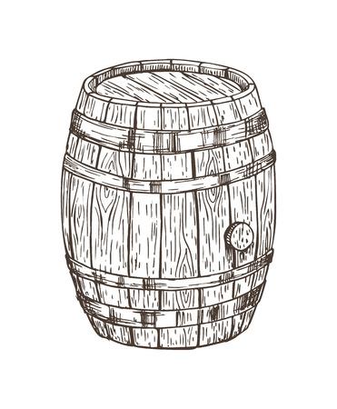 Drewniana beczka do napojów alkoholowych na białym tle grafika, ilustracja wektorowa dębowej beczki do przechowywania różnych napojów, szkic ołówkiem drewnianego pojemnika