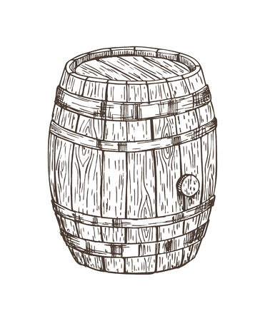 Wooden keg for alcohol drinks isolated graphic art, vector illustration of oak cask for different beverages storing, pencil sketch of wooden container