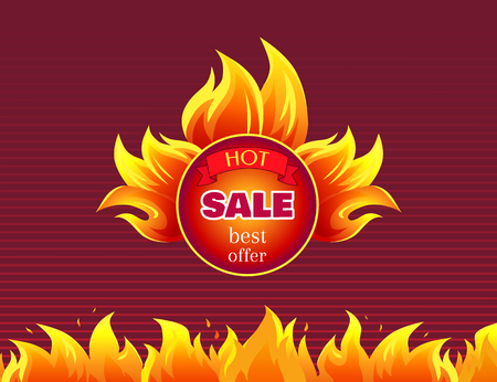 Hot Sale Best Offer Promo Label with Fire Splashes