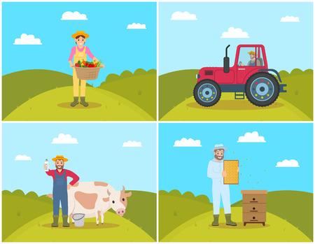 Farmer and tractor on field, agricultural machinery and workers set. Woman with pannier and vegetables veggies, beekeeper holding honeycombs vector Illustration