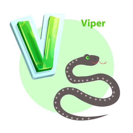 Viper spitting cartoon character representing V english consonant for children alphabet. Vector winding snake isolated to learn and memorize rudiments Illustration