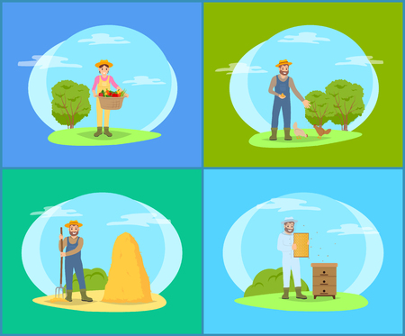 Farmer working in garden cartoon vector banners set. Man and woman with tools, basket of veggies and pitchfork for hay, feeding hens beehive for bees Иллюстрация