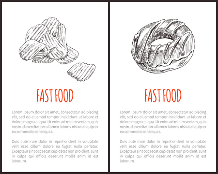 Fast food chips and sweet donut with chocolate topping set. Fried potatoes slices salty products. Glazed product monochrome sketches outline vector