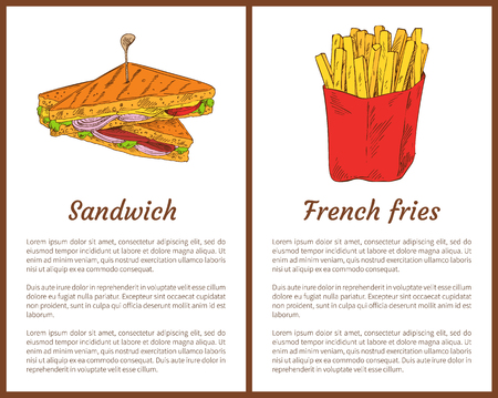 Sandwich and french fries fast food set. Roasted bread with salad leaves, cheese and onion. Fatty fried potatoes in red package vector illustration