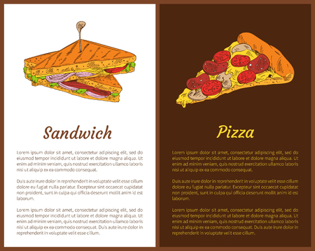 Sandwich and Pizza Fast Food Colorful Banners Standard-Bild - 114492752