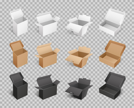 Boxes and packages made of paper and carton on transparent. Mockup of cardboards, delivery packs in realistic design. Containers templates vector Illustration