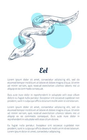Affiche dessinée à la main de créature marine d'anguille avec le texte