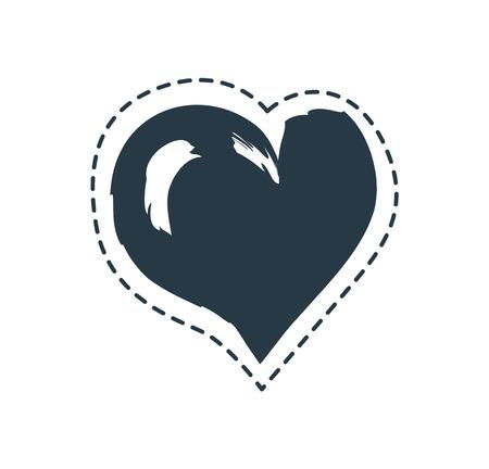Asymmetric Heart Bordered with Dashed Line Poster Illusztráció