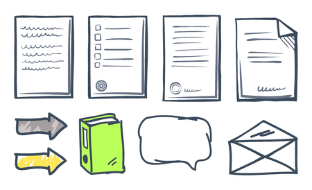 Office paper documents and arrows isolated icons vector. Thought bubble, book publication and indicators, envelope and letters. Documentation set Ilustrace