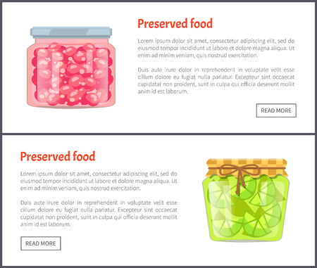Preserved food banners, sweet cherry and sour lime. Fruits in jars, coserved or canned products for winter web pages with text vector illustrations.