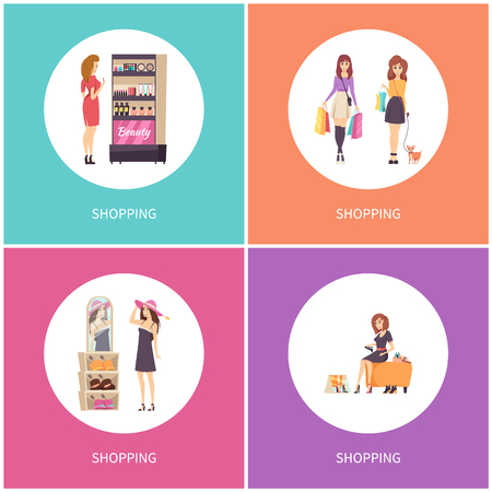 Shopping customers walking with dog pet posters set vector. Choosing hat headwear with price tags, wearing shoes. Beauty stand with cosmetics makeup Stock Illustratie