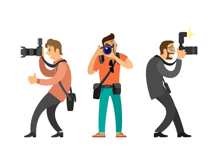 Photographers or paparazzi with digital cameras. Men taking picture, hobby and profession, modern device for photo shooting vector illustrations set. Çizim