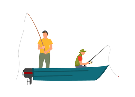 Two fishermen with fishing rods on blue motor boat cartoon vector illustration. Bright clothed standing and sitting men color model fishery poster.