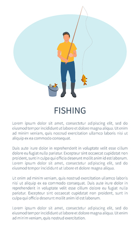 Fishing Fisherman with Rod and Fish Vector Icon Illustration