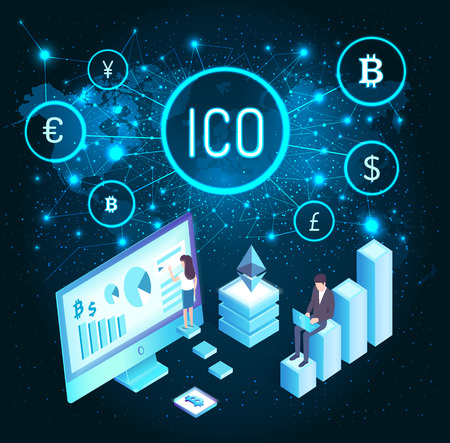 Ico and woman with whiteboard and charts presenting info vector. Businessman with laptop, world map with connected countries network. Currency set