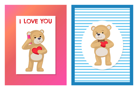 I love you and me teddy bears with heart sign vector illustration of stuffed toy animals, presents for Happy Valentines Day, cartoon posters set.