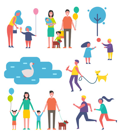 Family happy children isolated icons set. Swan floating on lake water, couple jogging, father and mother with kid kids and pet dog on leash vector