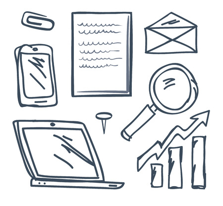 Office pin and paperclip, mobile phone and increasing pointer isolated icons vector. Monochrome sketches outline, magnifying glass tool and envelope