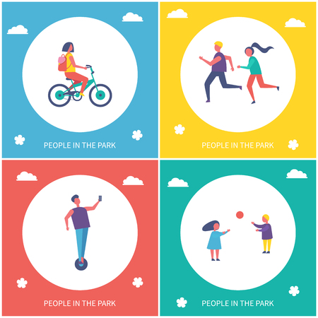 Children playing games in park isolated cartoon vector banner set. Girl riding by bicycle, boy on unicycle and guys running and having fun outdoor Çizim