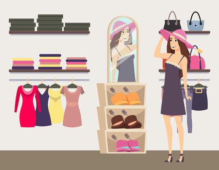 Fraueneinkaufen in der Boutique, modischen Hutvektor anprobieren. Handtaschen in Regalen und Kleider auf Kleiderbügeln. Bekleidungs- und Accessoiresshop für Damen Vektorgrafik