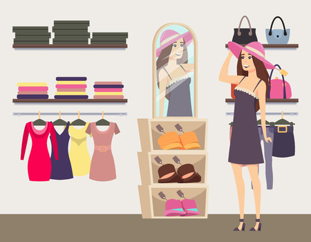 Woman shopping in boutique, trying on fashionable hat vector. Handbags on shelves and dresses on hangers. Clothes and accessories shop for ladies Ilustração Vetorial