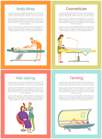 Body wrap and cosmetician procedure posters set with text sample vector. Hair styling, haircut changing style, tanning of women in solarium service Ilustração