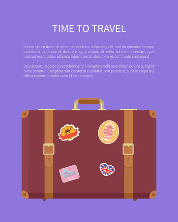 Time to travel luggage with stickers poster with text vector. Valise with Great Britain flag and Egyptian camel. Suitcase for traveling and voyage
