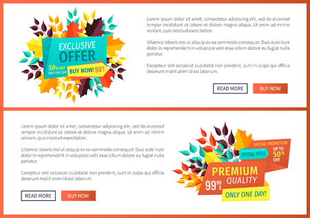 Special offer exclusive sale posters set. Premium discount natural product promotion. Hot price autumn proposition buy now banners with leaves vector 向量圖像