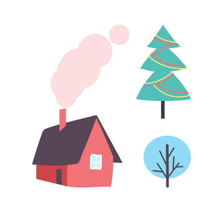 Decorated Christmas Tree, Winter Plant Icon, House Illustration