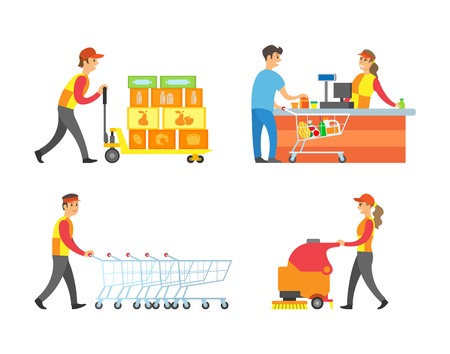 Supermarket working people and client with basket vector. Cashier and customer buying food, worker with shopping trolleys and loader with containers