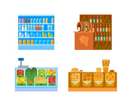 Supermarket Stores, Empty Shop Departments   Vector Illustration