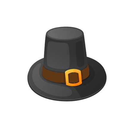 Holiday clothing thanksgiving hat decorated with belt element isolated icon vector. Historical sign and symbol of autumn event. Traditional head wear Иллюстрация