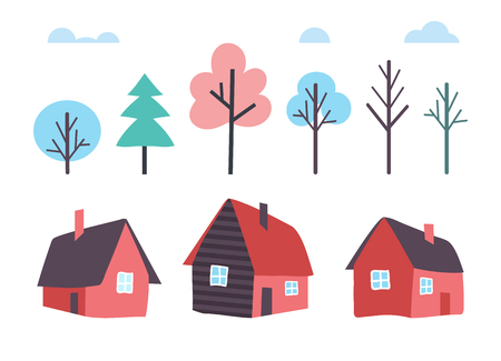 Houses Made of Wood and Winter Trees Forest Vector 일러스트