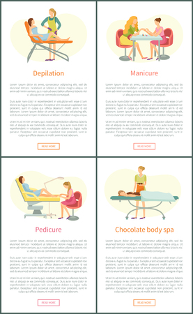Depilation and pedicure service posters set with text vector. Epilation with wax stripes, chocolate body spa relaxation of client. Beauty service