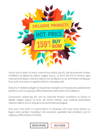 Exclusive product hot price poster and text sample. Banner decorated with leaves autumn foliage. Special deal offer promotion fall clearance vector