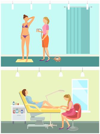 Bräunen im Spa-Salon und Pediküre. Nagelpflege Pflege Polieren der Fußnägel durch Fußpflegerin. Bräunungsgewinn mit Spray, Spezialist für Farbwechselvektoren