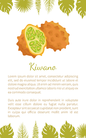 Kiwano exotic juicy fruit vector poster text sample and palm leaves. Cucumis metuliferus, African horned cucumber or jelly melano. Tropical edible food Illustration