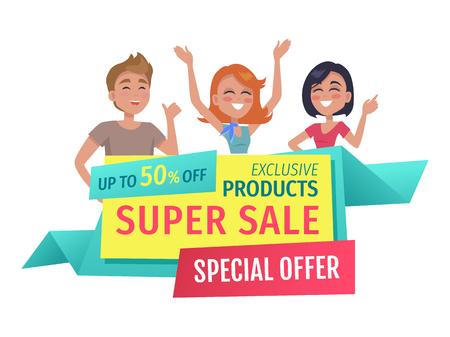 Super Sale Banner für Shop-Ausverkauf isoliert. Flache Vektor-exklusive Produkte und Aktionsphasen für Sonderangebote und Kunden Hände hoch und winken.